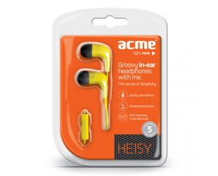 Ausinės su mikrofonu ACME HE15B Groovy, geltonos