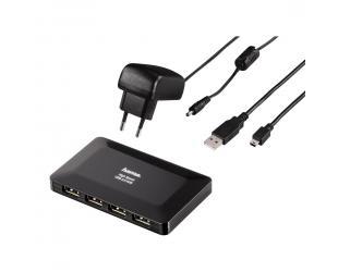 Šakotuvas HAMA 1:4 USB su AC, juodas