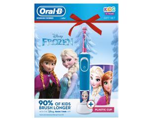 "Dantų šepetėlis ORAL-B Vitality 100 Kids D100.413.2K ""Frozen"" + puodukas"