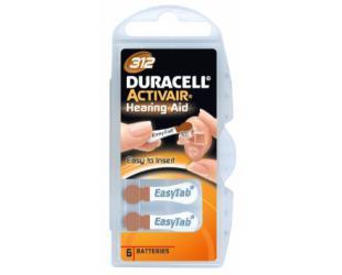 Baterijos Duracell A312/DA312/ZL312, Zinc air cells, 6 vnt