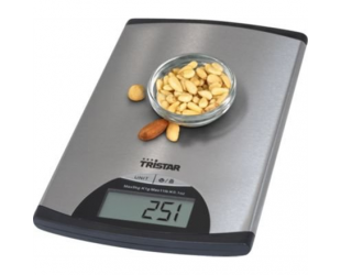 Virtuvinės svarstyklės Tristar Kitchen scale KW-2435 iki 5 kg, Metallic
