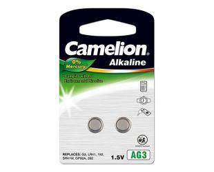 Baterija Camelion AG3/LR41/LR736/392, Alkaline Buttoncell, 2 vnt