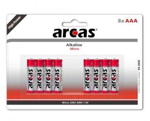 Baterijos Arcas AAA/LR03, Alkaline, 8 vnt