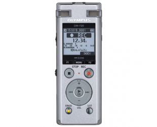Diktofonas Olympus Digital Voice Recorder DM-720 Stereo/Tresmic, PCM/MP3, 18mm round dynamic speaker/ 150mW, Rechargeable, Microphone connection, MP3 playback, Silver,