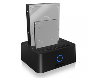"""Jungčių stotelė ICY BOX IB-123CL-U3 Dockingstation for 2.5""""and 3.5"""" SATA HDD to USB 3.0 Raidsonic ICY BOX 2bay docking- and clone station for 2.5"""" und 3.5"""" SATA HDDs/SSDs with JBOD function and USB 3.0, UASP & SATA III Support"""