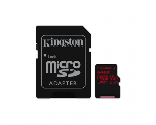 Atminties kortelė Kingston UHS-I Video Speed Class (V30) 64GB Micro SDXC CL10 su SD adapteriu