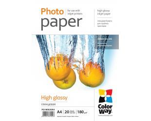 Popierius ColorWay Photo Paper 20 pcs. PG180020A4 Glossy, White, A4, 180 g/m²
