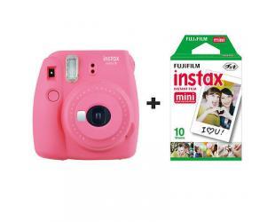 Momentinis fotoaparatas Fujifilm Instax Mini 9 + Instax mini glossy popierius (10 vnt) Flamingo Pink