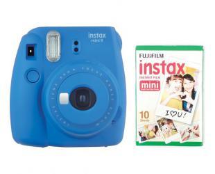 Momentinis fotoaparatas Fujifilm Instax Mini 9 + Instax mini glossy popierius (10 vnt) Cobalt Blue