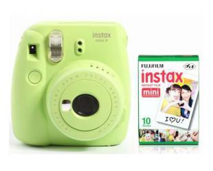 Momentinis fotoaparatas Fujifilm Instax Mini 9 + Instax mini glossy popierius (10 vnt) Lime Green