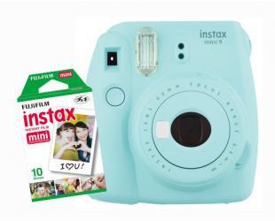 Momentinis fotoaparatas Fujifilm Instax Mini 9 + Instax mini glossy popierius (10 vnt) Ice Blue