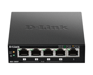 Komutatorius D-Link Switch DES-1005P/B Unmanaged, Desktop, 10/100 Mbps (RJ-45) ports quantity 5, PoE ports quantity 4, Power supply type External