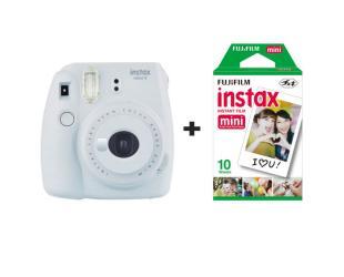 Momentinis fotoaparatas Fujifilm Instax Mini 9 + Instax mini glossy popierius (10 vnt) Smokey White
