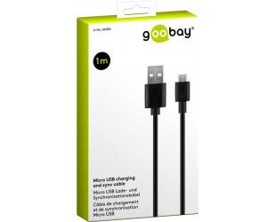 Kabelis Goobay 66436 Micro USB charging and sync cable, 1 m, black