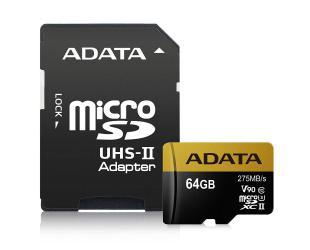 Atminties kortelė ADATA Premier ONE UHS-II U3 64GB Micro SDXC CL10 su SD adapteriu