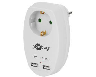 El. adapteris Goobay 40885 16A su 2 USB lizdais