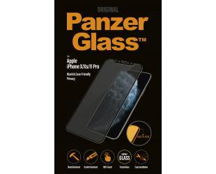Ekrano apsauga PanzerGlass P2664 Apple, iPhone X/Xs/11 Pro, grūdintas stiklas, Juoda, netrukdantis dėklui su privatumo filtru
