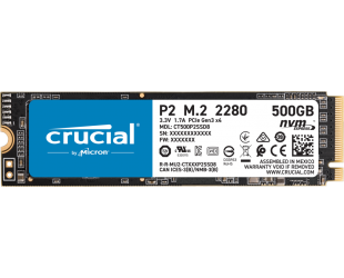 SSD diskas Crucial SSD P2 500 GB, SSD form factor M.2 2280, SSD interface PCIe NVMe Gen 3, Write speed 940 MB/s, Read speed 2300 MB/s