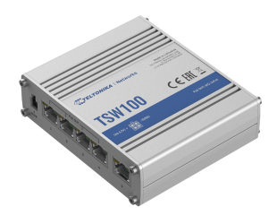 Komutatorius Teltonika Industiral POE+ Swith TSW100 PoE 802.3 af and PoE 802.3 at, Unmanaged, Desktop, 1 Gbps (RJ-45) ports quantity 5, PoE+ ports qu