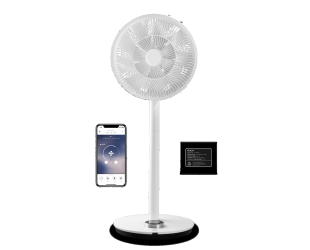 Ventiliatorius su stovu Duux Smart Fan Whisper Flex Smart Black with Battery Pack, laikmatis, greičio režimų skaičius 26, 2-22 W, Oscillation, skersmuo
