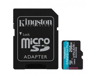 Atminties kortelė Kingston microSD Canvas Go! Plus 256 GB, MicroSD, Flash memory class 10, SD Adapter