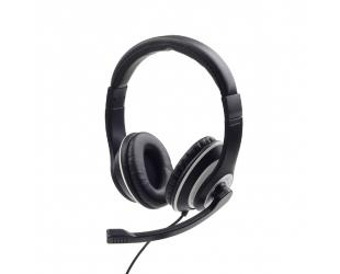 Ausinės Gembird Stereo headset MHS-03-BKWT Built-in microphone, Headband/On-Ear, 3.5 mm jack, Black colour with white ring