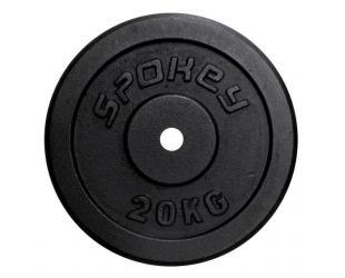 Štangos svoriai Spokey SINIS Cast iron loads, Hole diameter: 2.9 cm, for bars with a diameter of 2.8 cm, 20 kg, Black