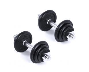 Hantelių rinkinys Spokey EGIR 20 Dumbbell set, +2 grips, 4 screw clamps, 12 weights, 20 kg, Black