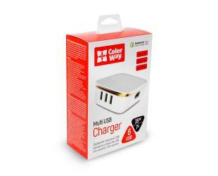 Įkroviklis ColorWay AC Multi USB 6 x USB Type-C, 1 QC 3.0 + 5 AUTO ID, Fast charging, White, 5 V, 35 W, 7.0 A