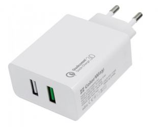 Įkroviklis ColorWay Wall 2USB Quick Charge 3.0 2xUSB Type-C, Fast charging, White, 30 W, 2.4 A