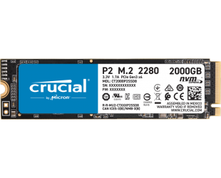 SSD diskas Crucial SSD P2 2000 GB, SSD form factor M.2 2280, SSD interface PCIe G3 1x4 / NVMe, Write speed 1900 MB/s, Read speed 2400 MB/s