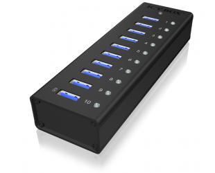 Adapteris Raidsonic 10 port USB 3.0 Hub Icy Box IB-AC6110 Black