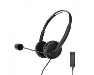 Ausinės Energy Sistem Headset Office 2+ Black, USB and 3.5 mm plug, volume control, retractable boom mic.