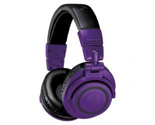 Ausinės Audio Technica Wireless Over-Ear Headphones ATH-M50xBTPB Over-ear, Microphone, 3.5 mm (1/8″) stereo mini-plug, Noice canceling, Wireless, Purple/Black