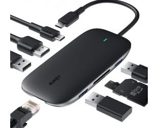 Aukey 8 Port USB 3.0 Type-C Hub CB-C71 Black