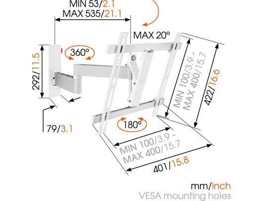 Televizoriaus laikiklis VOGEL'S W53071, baltas
