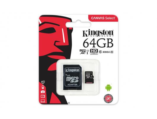 Atminties kortelė KINGSTON 64GB microSDXC, UHS-I U1