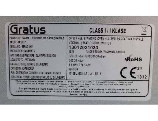 Dujinė viryklė GRATUS VDD5014, 50 cm