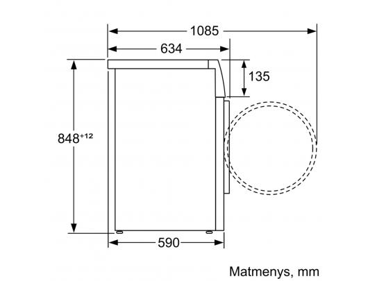 Skalbyklė-džiovyklė BOSCH WVH28422SN, 63 cm gylio