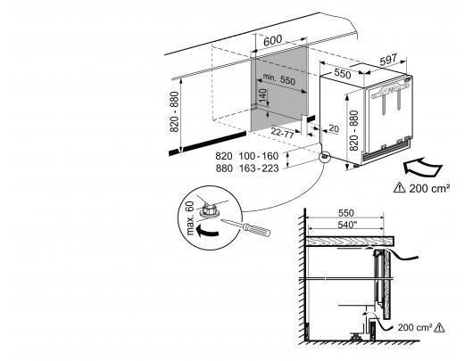 Įmontuojamas šaldytuvas LIEBHERR  UIK 1510 Comfort    82cm