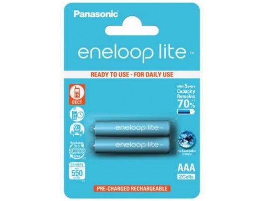 Baterijos Panasonic eneloop AAA/HR03, 550 mAh, įkraunamos Ni-MH, 2 vnt