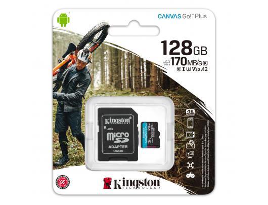Atminties kortelė Kingston Canvas Go! Plus 128GB Micro SD CL10 su SD adapteriu