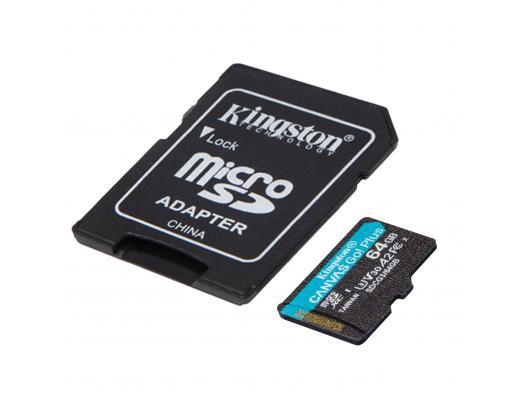 Atminties kortelė Kingston Canvas Go! Plus 64GB Micro SD CL10 su SD adapteriu