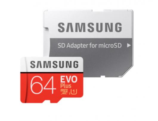 Atminties kortelė Samsung Card Evo Plus 64GB Micro SDXC CL10 su SD adapteriu