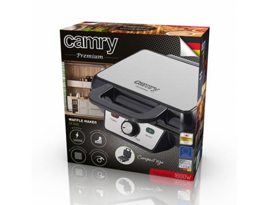 Vaflinė Camry Waffle Maker CR 3046 1600 W, Number of pastry 2, Belgium, Black/Stainless Steel