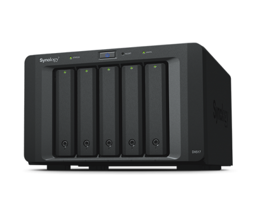 Diskų masyvas Synology Tower NAS Expansion Unit DX517 up to 5 HDD/SSD Hot-Swap (drives not included), Internal AC 100-240V Universal, 50/60 Hz, 1x eSATA, Dual Fan