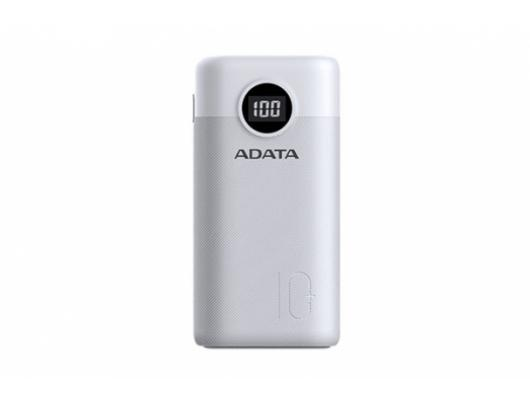 Išorinė baterija (power bank) ADATA Power bank P10000QCD 10000 mAh, Li-Polymer, White