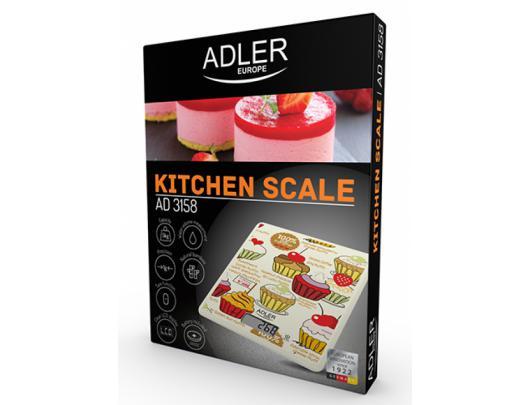 Virtuvinės svarstyklės Adler Kitchen Scale AD 3158 Electronic, padalos vertė 1g, max 5 kg