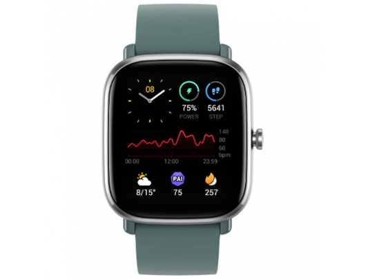 Išmanusis laikrodis Amazfit GTS 2mini Smart watch, GPS (satellite), AMOLED Display, Touchscreen, Heart rate monitor, Activity monitoring 24/7, Waterproof, Bluetooth, Sage Green