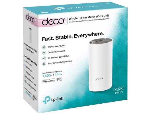 Maršrutizatorius TP-LINK Whole Home Mesh Wi-Fi System Deco E4 (1-pack) 802.11ac, 867+300 Mbit/s, 10/100 Mbit/s, Ethernet LAN (RJ-45) ports 2, Mesh Su